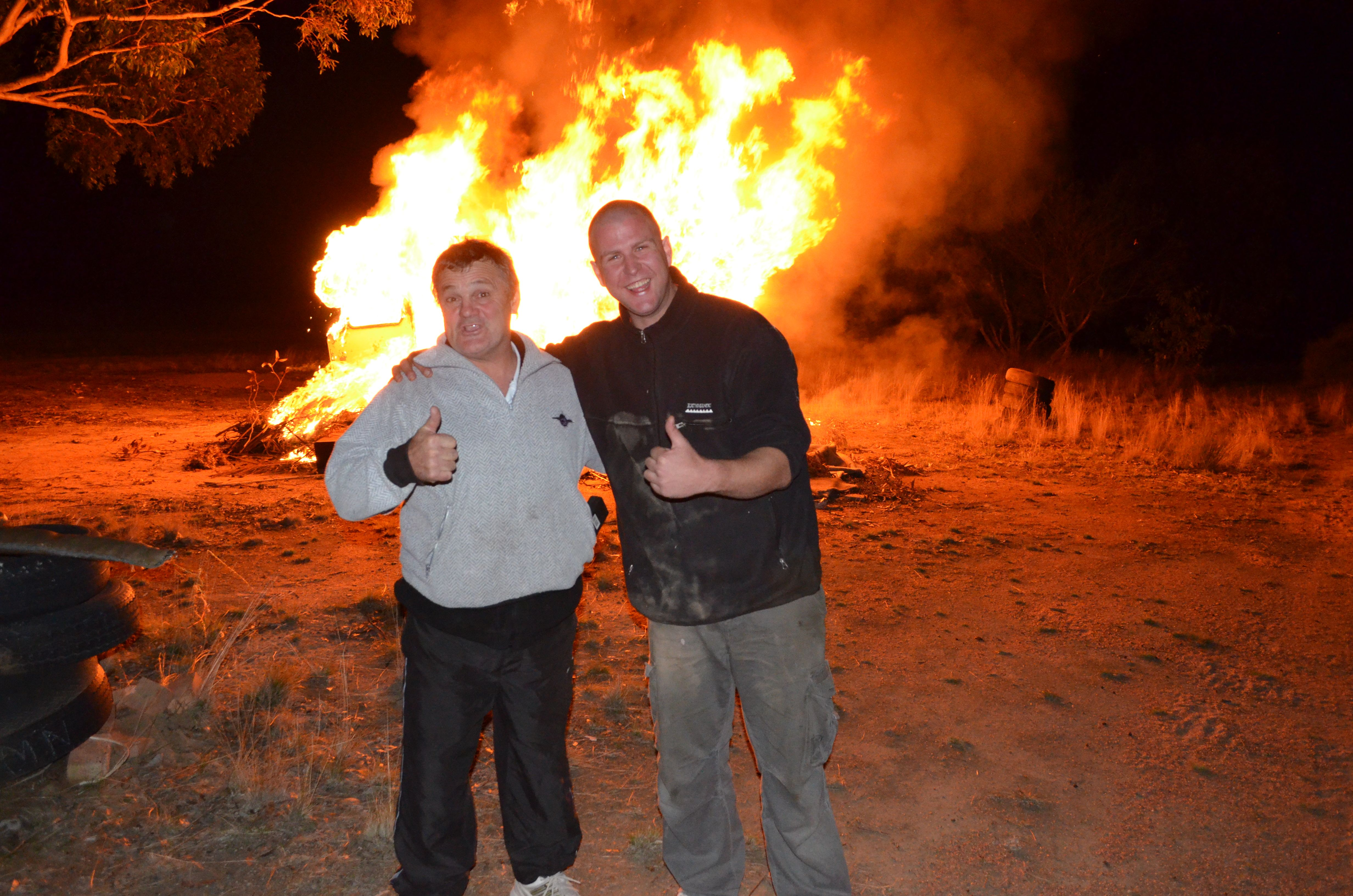 By the bon fire, after skydiving at Euroa
