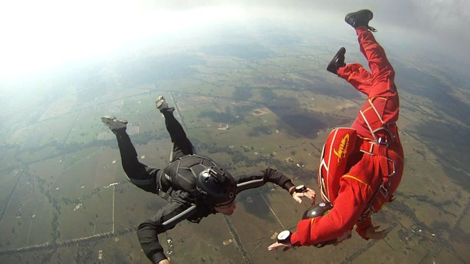 A tandem jump in progress at Euroa - click here for pricing
